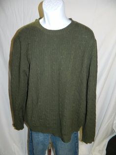 346 BROOKS BROTHERS 100% lambswool sweater XL olive green  INV#0368 #BROOKSBROTHERS #Crewneck
