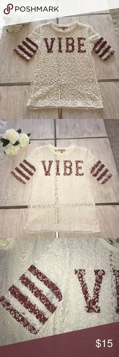 Vibe lace shirt Zara. Size small. All lace no lining underneath. Cute with bralette underneath! Vibe and striped sleeves in a maroon brick red color. Never worn. I'm very OCD with my clothes so everything gets washed on cold, gentle cycle, & tumble or air dried!! No fading or shrinking, you're welcome 👍  If you want to save money on shipping browse through the rest of my closet & bundle to save additional $ off your purchase. Zara Tops