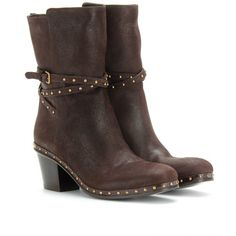 Miu Miu Belted Leather Ankle Boots With Studded Trim ($875) ❤ liked on Polyvore