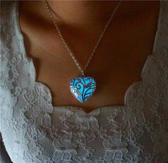 Glowing Necklace, the Heart of the Frozen Forest, Glowing Heart Locket Necklace, Glow in the Dark Jewelry, Christmas Gifts, Gifts For Her