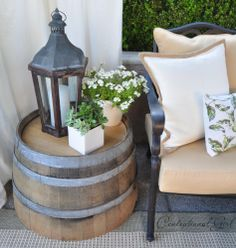 Beautiful - 1/2 barrel with summer display-with one of PartyLite lanterns :-)