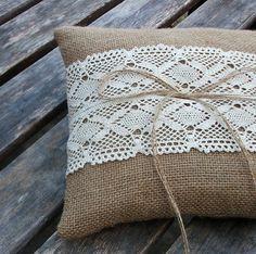 Rustic Wedding Ring Bearer Pillow in Natural Burlap