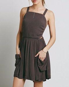3528-New-Free-People-Raw-Hem-Crossed-Open-Back-Pleated-Mini-Tunic-Dress-M-8