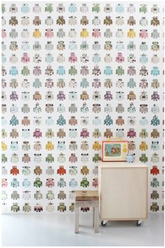 Robots wallpaper by Studio Ditte, available for purchase at www.wallpaperantics.com.au