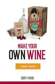 You don't have to be a master vintner to create the perfect wine. All you need are the perfect tools, which are all here in our Make Your Own Wine kit along with a step-by-step guidebook to show you the way. Homemade Wine Making, Making Wine At Home, Wine Making Kits, Homemade Alcohol, Make Your Own Wine, Make It Yourself, Wine Making Supplies, Wine Supplies, Alcohol Drink Recipes