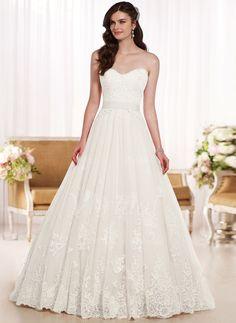 Brautkleider - $258.06 - Duchesse-Linie Trägerlos Herzausschnitt Sweep/Pinsel zug Tüll Spitze Brautkleid mit Applikationen Spitze (0025117336)