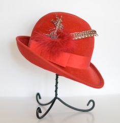 Vintage 70's Red Velour Feather Fedora by LaGlamVintage on Etsy, $32.00