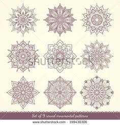 Set of nine ethnic ornamental floral patterns. Hand drawn mandalas. Lace circular ornaments. Vector illustration. - stock vector