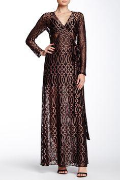 Celtic Foil Lace Wrap Maxi Dress by LIX on @HauteLook