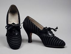 Black leather and suede pinstripe oxfords with rayon laces, American, c. 1934