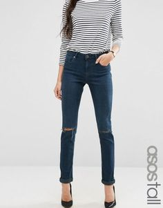 ASOS TALL Kimmi Shrunken Boyfriend Jeans in Grace Dark Stonewash with Rips – Blue. Tall Women's Clothing and Bigger Sized Shoes at PrettyLong.com