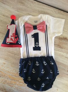 Nautical Anchor Suspender Onesie Cake Smash Outfit by CuteAsClaire