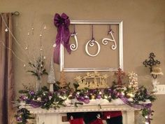 JOY!!  Old frame remove glass  spray paint color of choice  JOY letters & ribbon purchased at Hobby Lobby #CHRISTmas #DIY