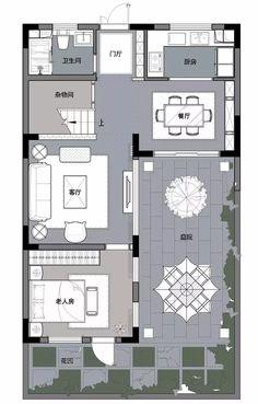 180平中式 开祥·上河坊微墅样板间_网易家居图库 Detail Architecture, Architecture Plan, Japanese Interior Design, Chinese Style, Home Deco, Floor Plans, Layout, Flooring, How To Plan