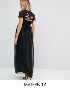 Chi Chi London Maternity Maxi Tulle Dress with Lace Up Back