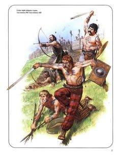 F. Celtic light infantry types,1st century BC/1st century AD.1:British celtic slinger.2:South-west celtic bowman.3:Caledonian warrior.4:Young man warrior.