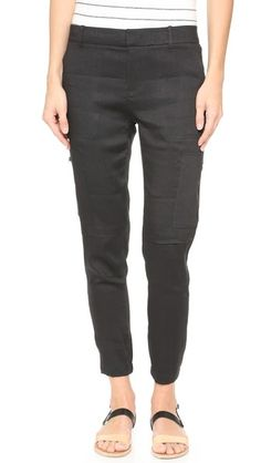These Vince cargo linen pants with zippers in black and tan are comfy as well as functional.