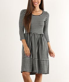 Love this Charcoal Stripe Fit & Flare Dress on #zulily! #zulilyfinds