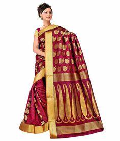 Varkala Silk Sarees Red Kanchipuram Art Silk Saree