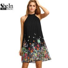SheIn New Woman Dress 2016 Summer Black Round Neck Sleeveless Womens Casual Clothing Floral Print Cut Away Shift Dresses(China (Mainland))