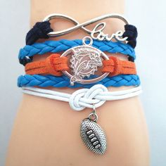 Infinity Love Miami Dolphins Football - Show off your teams colors! Cutest Love Miami Dolphins Bracelet on the Planet! Don't miss our Special Sales Event. Many teams available. www.DilyDalee.co