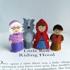 Little Red Riding Hood Finger Puppet Set -- $38 -- claraclips on etsy.com (canada)