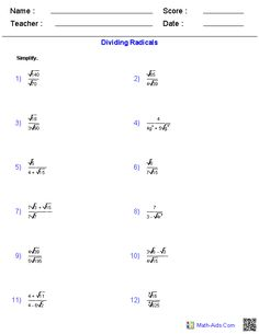 Dividing Radical Expressions Worksheets Algebra 2 Super Ipa Math
