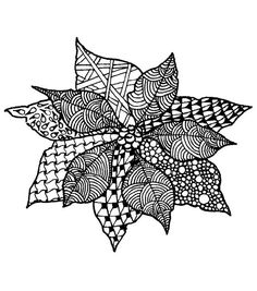 Magenta Zentangle Poinsettia Rubber Cling Stamps