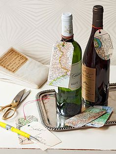 map wine bottle tags.