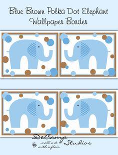 Blue Brown Polka Dot Elephant Wallpaper Border Wall Decals Boy