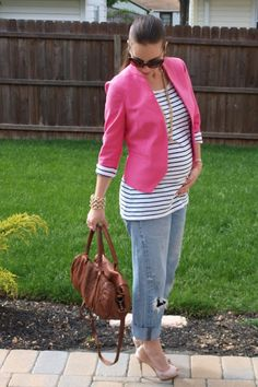 Boyfriend's « Thirty Something Fashion – Carly Walko. Maternity Style, Stylish While Pregnant, LOFT, Stripes, Spring, TANO
