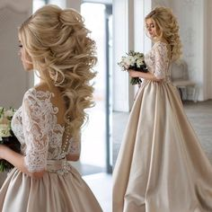 Sheer A-line Scoop 1/2 Sleeves Champagne Prom/Wedding Dress with Appliques