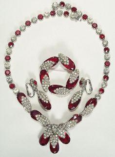 Stunning Kramer Red & Clear Rhinestone Necklace Parure