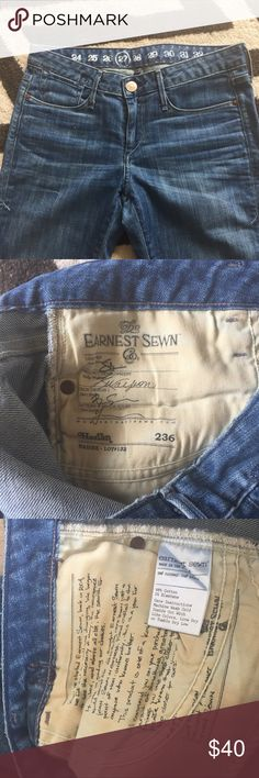 """Earnest Sewn Harran Cigarette Leg Jeans Sz 27👖 Rise: 7.5"""", inseam: 33.5"""", waist: 29"""", Length: 42"""". In excellent used condition. No flaws!😍. Sz 27. Fits a Sz 26. Earnest Sewn Jeans Skinny"""