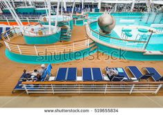 View of recreation deck on cloudy day in summer o cruise ship in Teneriffa, Canary Islands, image for travel and Europe tourism news Europe Tourism, Norwegian Epic, Mars 1, Cloudy Day, Canary Islands, Cruise, Photo Editing, Spain, Deck