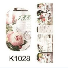 K1028 Water Transfer Nails Art Sticker Rose Flowers Design Nail Sticker Manicure Decor Tools Full Coverage Nail Wraps Decals