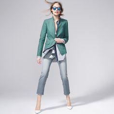 J.Crew Looks We Love: Women's Regent blazer in linen in alpine moss, vintage…