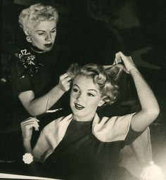 Marilyn Getting her hair done