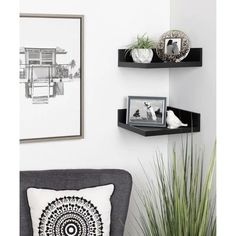Kate and Laurel Levie Floating Corner Wood Wall Shelf - 2 Piece (MDF - Gold - Glam) Wooden Wall Shelves, Wooden Walls, Floating Corner Shelves, Black Shelves, White Home Decor, Home Decor Outlet, Modern Wall, Modern Contemporary, Living Room Furniture