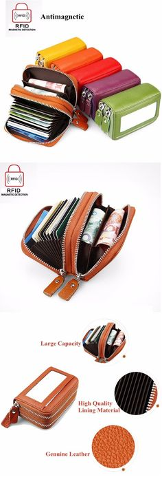 US$12.99 RFID Antimagnetic Genuine Leather 11 Colors 11 Card Slots Card Holder Purse