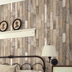 "Brewster Home Fashions Essentials Barn Board Thin Plank 33' x 20.5"" Wood Wallpaper Roll & Reviews | Wayfair"