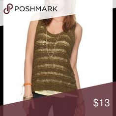 NWT S open knit tank New in package condition. Size small. Olive color. Ribbon knit. Open knit sleeveless sweater Tops Tank Tops