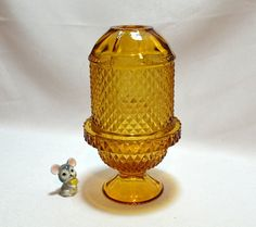 Viking Glass Amber Yellow Fairy Lamp  Diamond by ChicMouseVintage