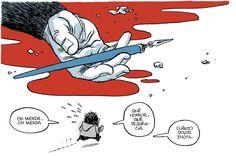 La muerte de un gigante. Así es la página 7 del homenaje que Orgullo y Satisfacción rinde a los asesinados de Charlie Hebdo.  Desde esta dirección se puede descargar gratis el Número Especial: http://www.orgulloysatisfaccion.com/charlie/  (última consulta del enlace: 9 de enero de 2015)