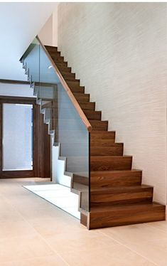 Staircase Glass Railing, Glass Stair Balustrade, Staircase Ideas, Entry  Stairs, Wood Stairs