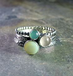 Spun Sugar - set of 3 pastel stacking rings with Mother of Pearl, Rose Quartz, and Chrysoprase     ...from LavenderCottage on Etsy