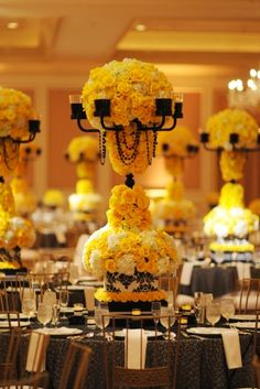 Decorations Tips, Yellow White And Black Centerpieces: Black and White Wedding Centerpieces Ideas Yellow Centerpieces, Candelabra Centerpiece, Wedding Centerpieces, Wedding Decorations, Centerpiece Ideas, Wedding Ideas, Wedding Inspiration, Wedding Stuff, White Centerpiece