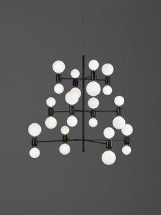 Aballs chandelier in black by Spanish designer Jaime Hayón for the new Catalan Label Parachilna.