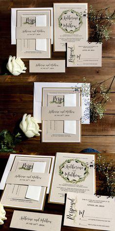 Gold and Cream Rustic Kraft Wedding Invitation  Greenery Wedding Invitation   Watercolor Laurel Leafs Wreath Wedding Invites with Belly Band #weddinginvitation