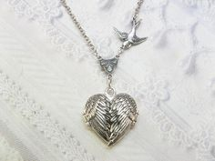 Silver Locket Necklace  - Silver HEART Locket - My GUARDIAN ANGEL- Jewelry by BirdzNbeez - Wedding Birthday Bridesmaids Gift. $70.00, via Etsy.